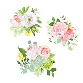 Stylish mix of spring bouquets vector design set