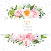 Stylish mix of flowers horizontal vector design frame. Green hydrangea, wild rose, camellia, orchid, peony, carnation, eucaliptus leaf, wildflowers. All elements are isolated and editable.