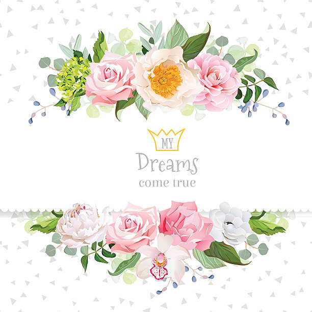 stylish mixed flowers horizontal vector design frame - get well soon stock illustrations, clip art, cartoons, & icons