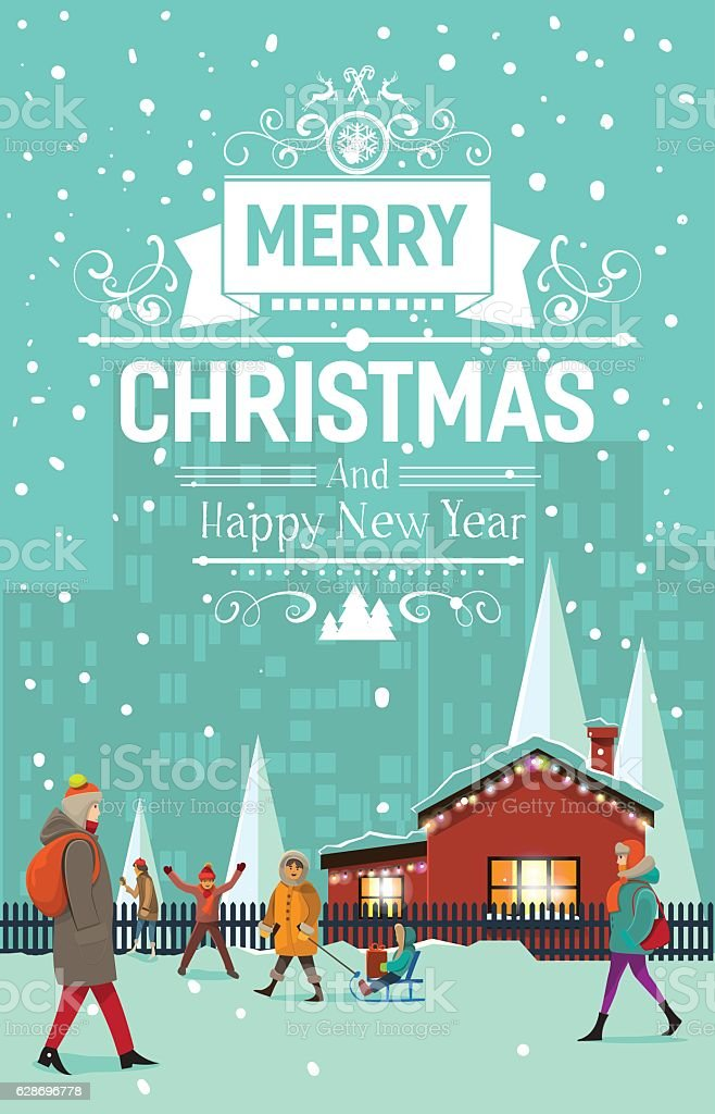 Stylish Modern Flat Vintage Christmas Card Royalty Free Stock