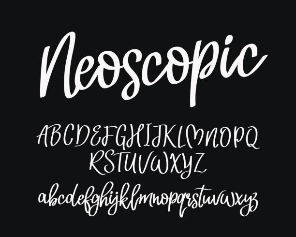 Stylish modern vector font Stylish modern vector font on black background. Uppercase and lowercase letters. Lettering, typography, calligraphy. English alphabet. Elements for design. handwriting stock illustrations