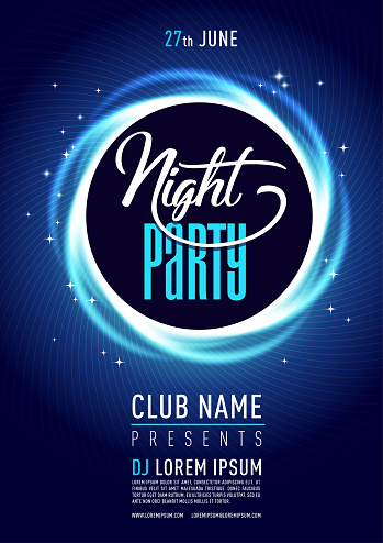 Stylish night cub poster/flyer on colorful scalable backgrounds.