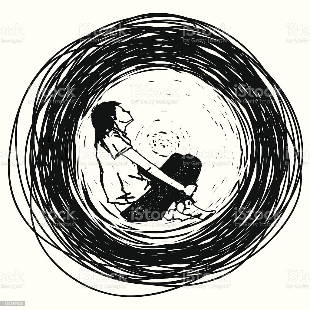 stylish outline of the sadness royalty-free stock vector art