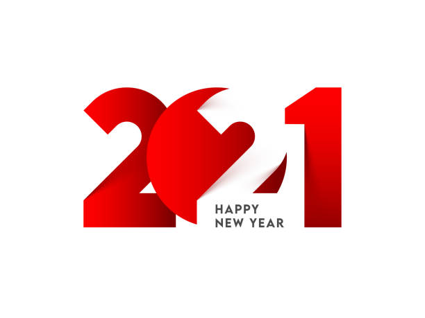 Stylish Paper Cut 2021 Number on White Background for Happy New Year. vector art illustration
