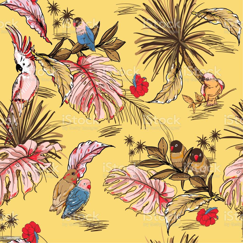 Papier Peint Avec Perroquet Élégant pastel tropical dessiné À la main croquis avec motif