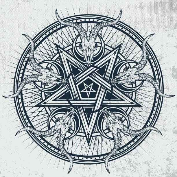 stylish pentagram with goat skulls and star rays. - stars tattoos stock illustrations