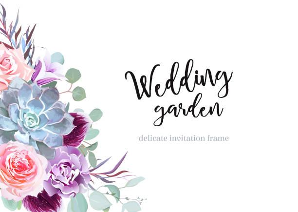 Flores de ciruelo coloreadas y rosas con estilo vector tarjeta de diseño banner - ilustración de arte vectorial