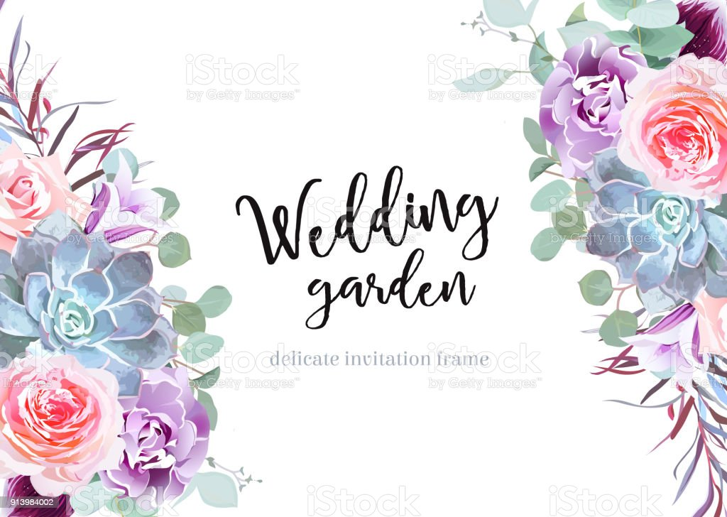 Stylish plum colored and pink flowers vector design banner card. vector art illustration
