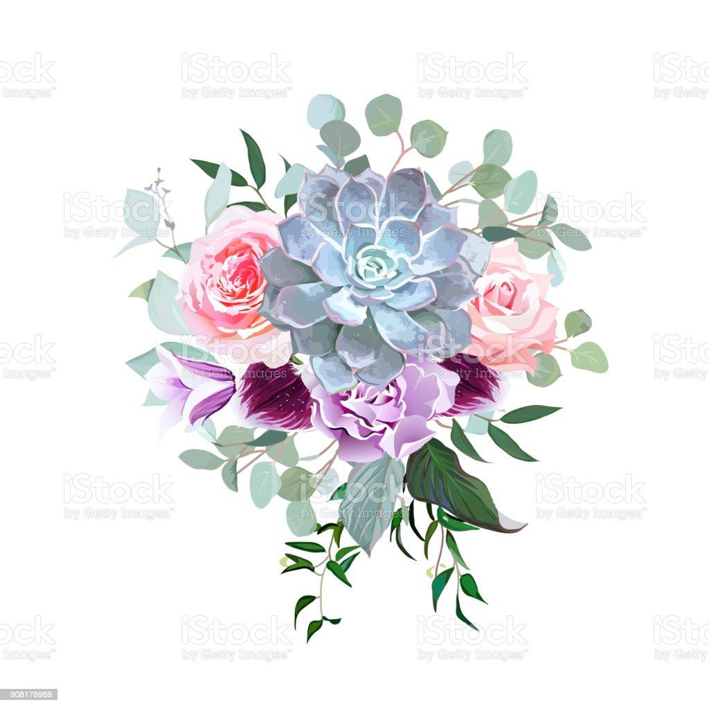 スタイリッシュなプラム色とピンクの花のベクトルのデザイン ブーケ ベクターアートイラスト
