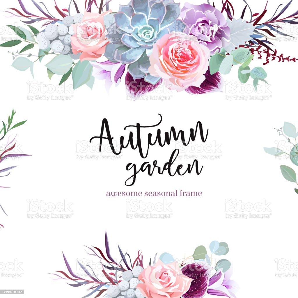 スタイリッシュなプラム色とピンクの花のベクトルのデザイン カード ベクターアートイラスト