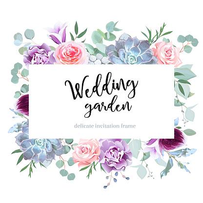 Stylish Plum Colored And Pink Flowers Vector Design Card - Immagini vettoriali stock e altre immagini di Acquerello
