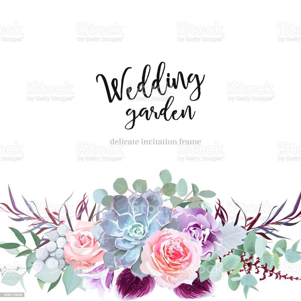 Stijlvolle pruim gekleurde en roze bloemen vector design kaartvectorkunst illustratie