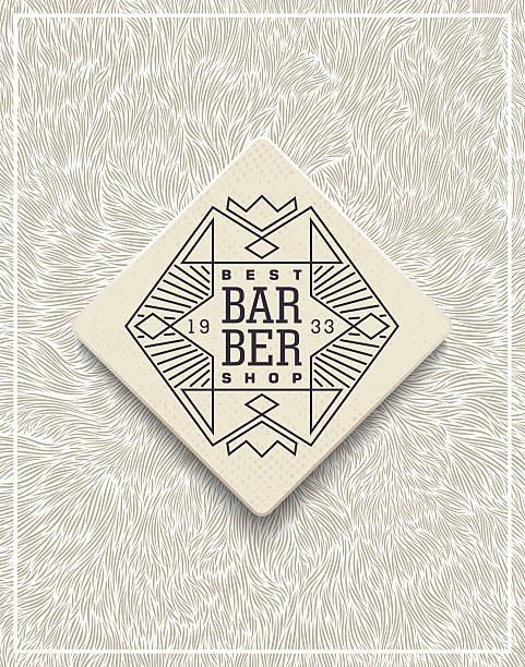 ilustrações, clipart, desenhos animados e ícones de stylish poster design for barbershop - texturas de pelo de animal