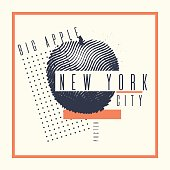 Stylish poster new York the big Apple on abstract background