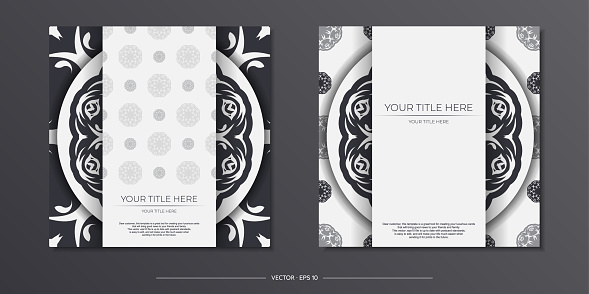 Stylish Ready-to-print white postcard design with vintage ornaments. Invitation card template with dewy patterns.
