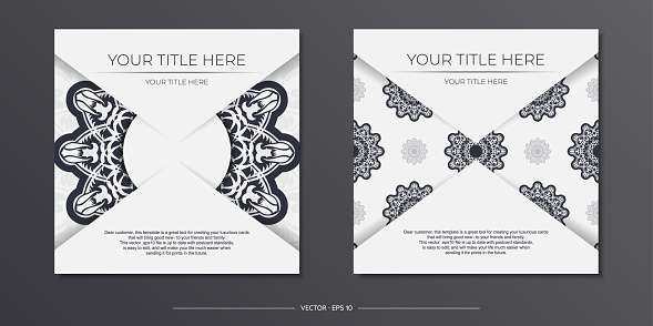 Stylish Ready-to-print white postcard design with vintage patterns. Vector Template of invitation card with dewy ornament.