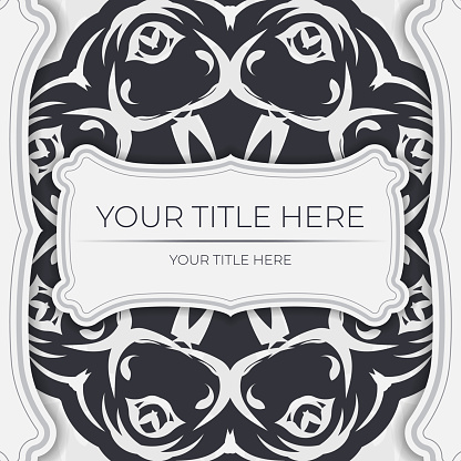 Stylish Ready-to-print white postcard design with vintage patterns. Invitation card template with dewy ornament.