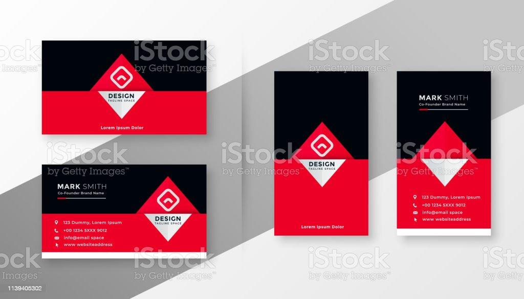 Stilvolles Rotschwarzes Visitenkartendesign Stock Vektor Art