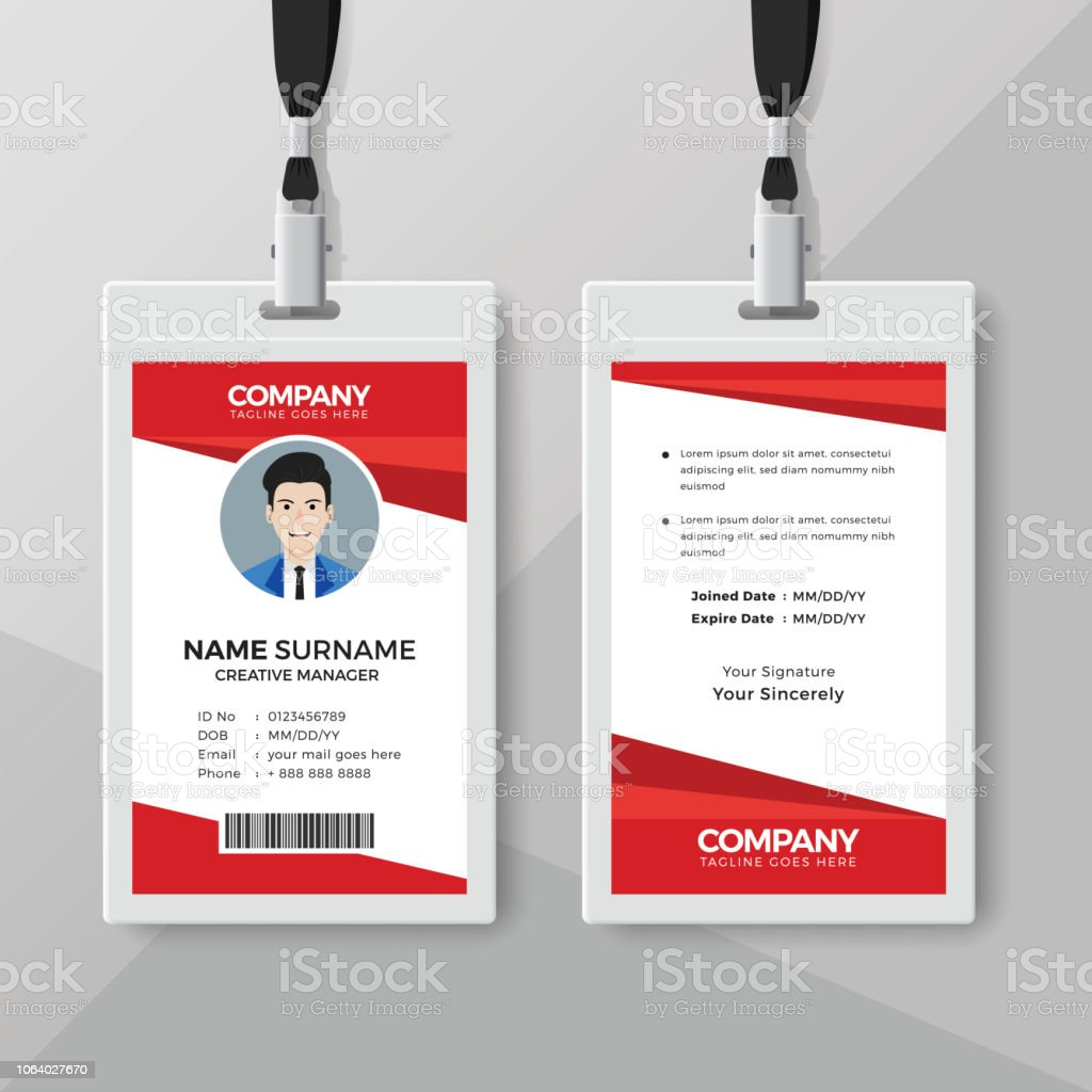 Stylish Red Id Card Design Template Stock Vector Art More Images