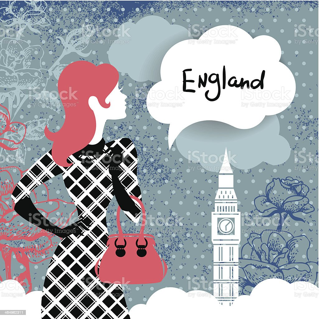 Stylish retro background with woman silhouette in England vector art illustration