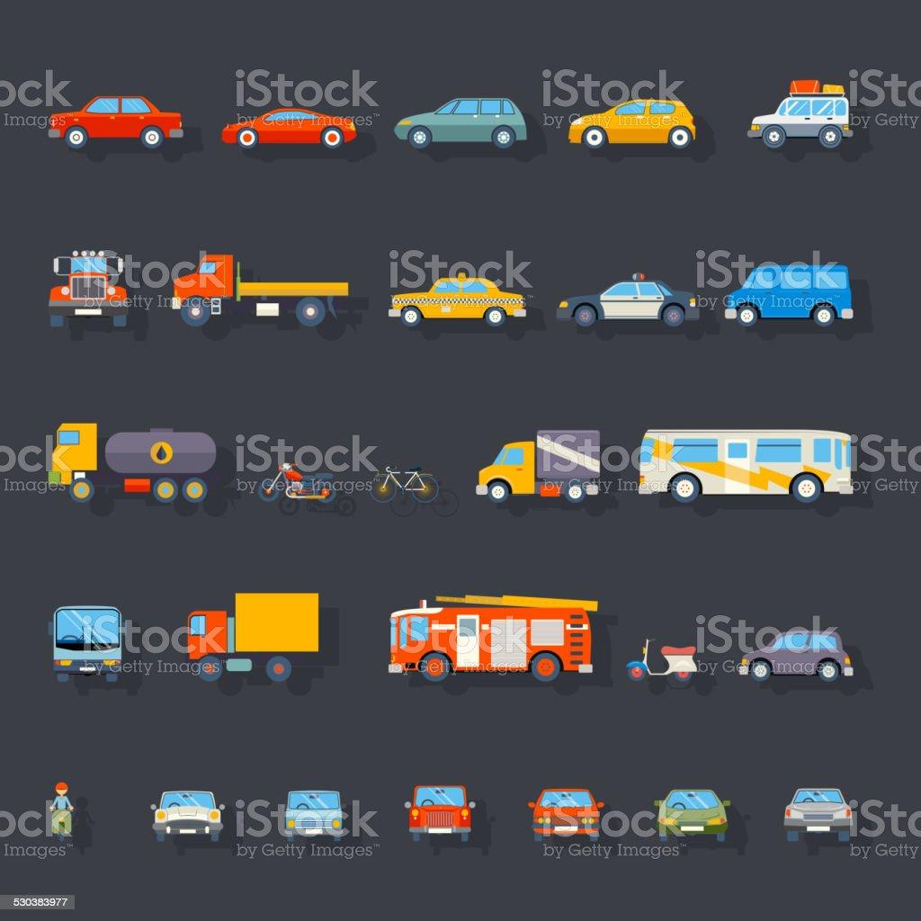 Stylish Retro Car Line Icons Set Isolated Transport Symbols Vector vector art illustration