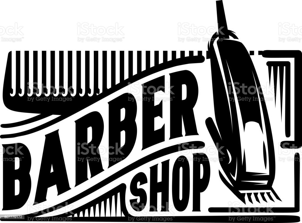 Stylish retro icon with a comb and a machine for the barber shop. vector art illustration