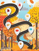 Roads and streets infographics set, organized into several layers for easier editing. Bright fall scene in the background.