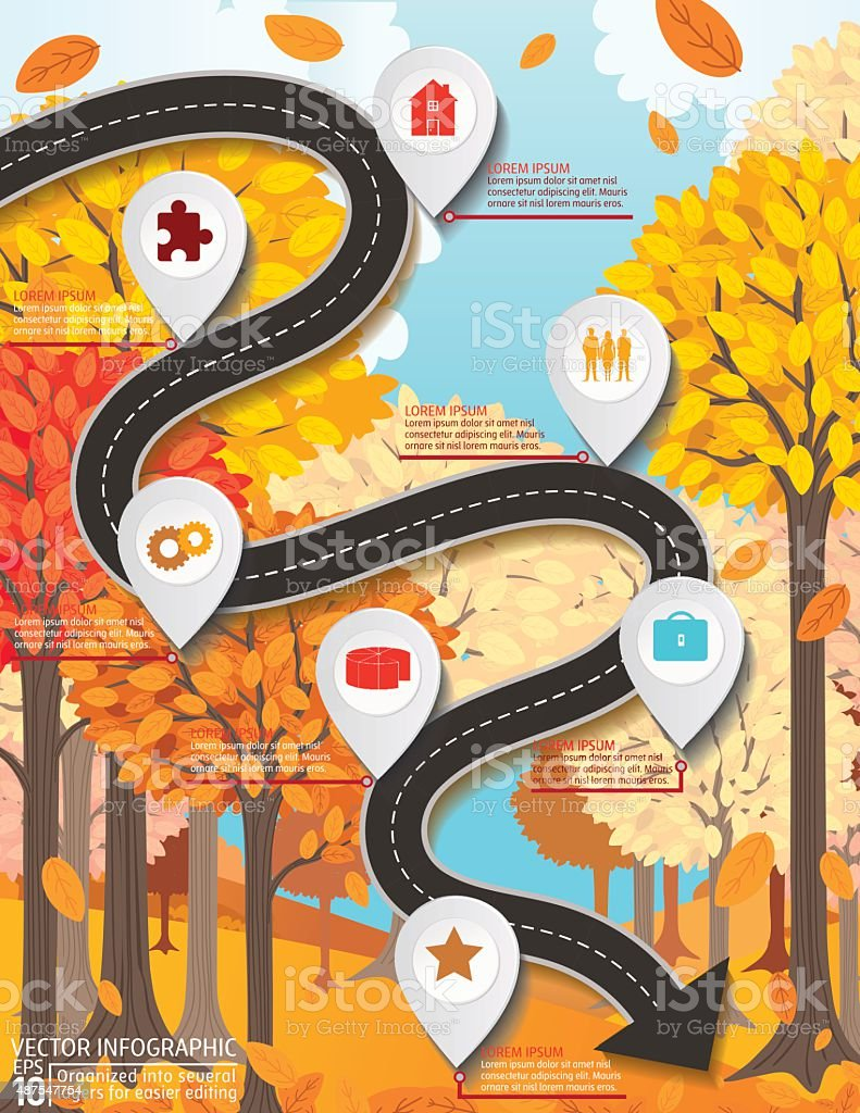 Stylish Roads Infographic On A Bright Yellow Background vector art illustration