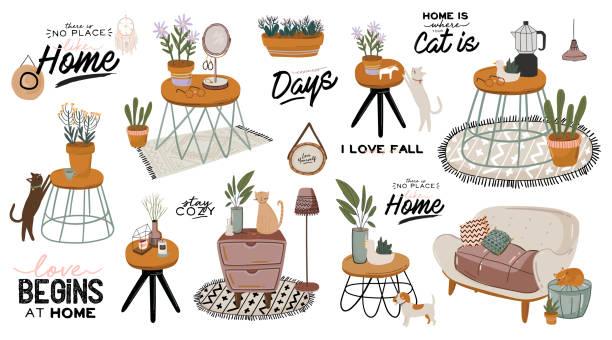 stilvolle scandische wohnzimmer interieur - sofa, sessel, couchtisch, pflanzen in töpfen, lampe, dekorationen. - gartensofa stock-grafiken, -clipart, -cartoons und -symbole