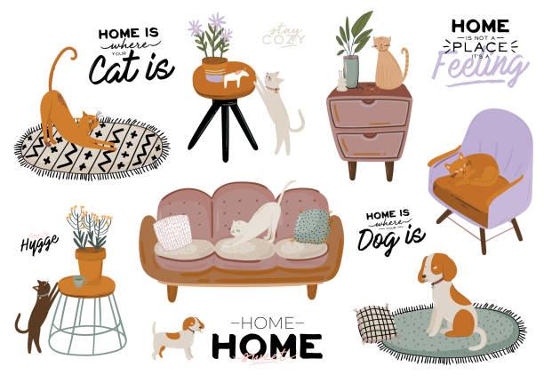 ilustrações de stock, clip art, desenhos animados e ícones de stylish scandic living room interior - sofa, armchair, coffee table, plants in pots, lamp, home decorations. - coffee table