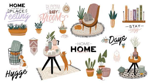 スタイリッシュなスキャンディックリビングルームのインテリア - ソファ、アームチェア、コーヒーテーブル、ポット、ランプ、家庭の装飾の植物。 - 椅子 家具点のイラスト素材/クリップアート素材/マンガ素材/アイコン素材