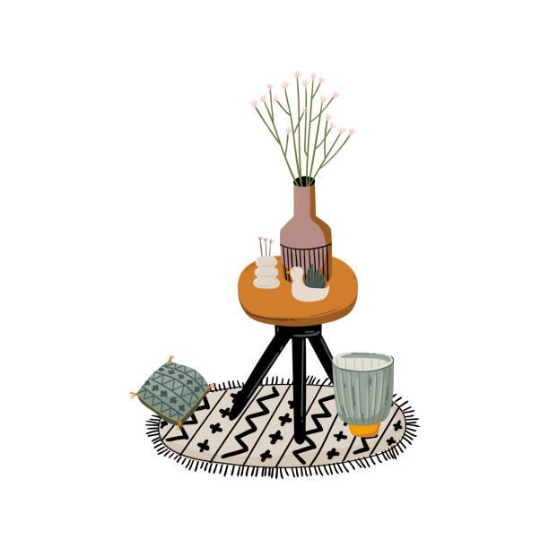 ilustrações de stock, clip art, desenhos animados e ícones de stylish scandic living room interior - sofa, armchair, coffee table, plants in pots, lamp, home decorations - hygge