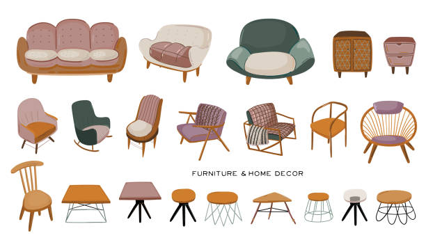 ilustrações de stock, clip art, desenhos animados e ícones de stylish scandinavian living room interior - isolated sofa, armchair, coffee table, chest of drawers, home decorations. - coffee table