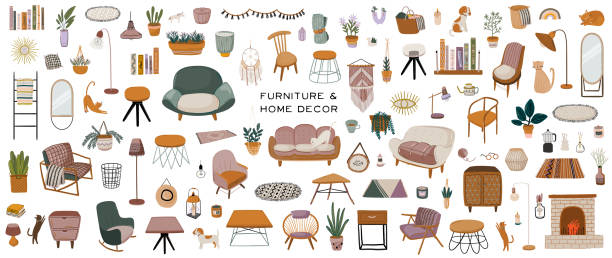ilustrações de stock, clip art, desenhos animados e ícones de stylish scandinavian living room interior - sofa, armchair, coffee table, houseplant, lamp, home decorations. - coffee table