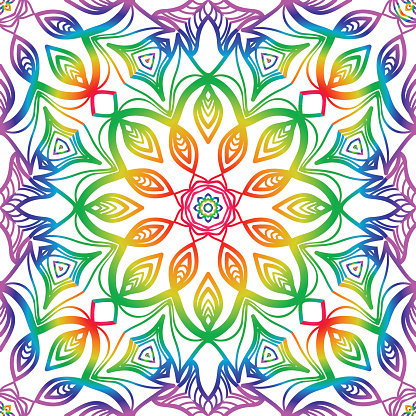 stylish seamless background with flower design. vector illustration. rainbow LGBT color