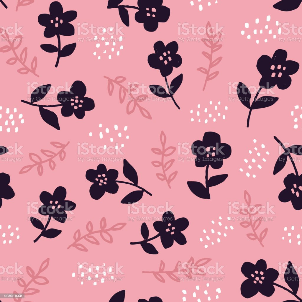 Stylish Seamless Floral Pattern With Hand Drawn Black Flowers On
