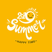 Stylish seasonal template 2019 Summer. Happy time. Bright yellow sun smiles. Vector illustration for season banner, label, poster, symbol Summer.