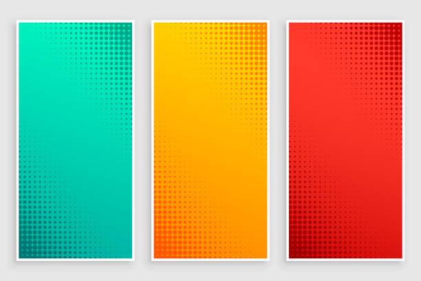 Stilvolles Set von halfton-Bannern – Vektorgrafik