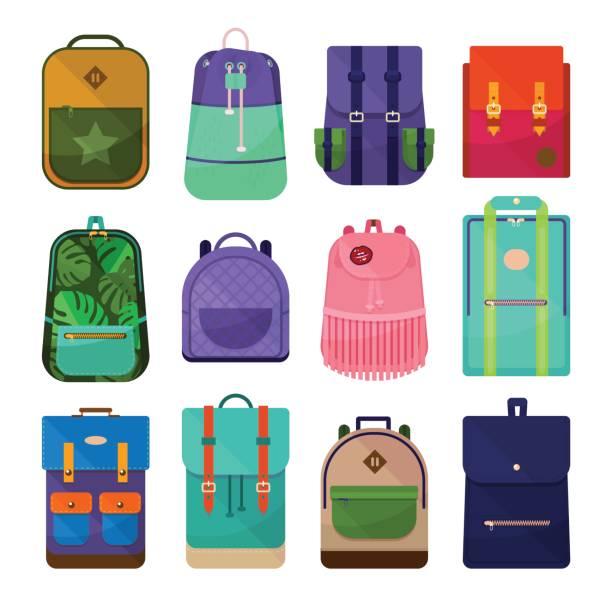 stockillustraties, clipart, cartoons en iconen met stijlvolle tiener school rugzakken set. gekleurde rugzakken illustraties geïsoleerd op een witte achtergrond. - schooltas