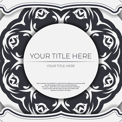 Stylish Template for print design postcards in white color with vintage ornament. Preparing an invitation with dewy patterns.