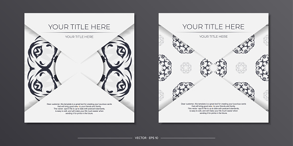 Stylish Template for print design postcards in white color with vintage patterns. Preparing an invitation with a dewy ornament.