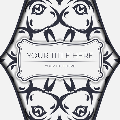 Stylish Template for print design postcards in white color with vintage ornament. Vector Preparation of invitation card with dewy patterns.