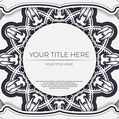 Stylish Template for print design postcards in white color with vintage patterns. Vector Preparation of invitation card with dewy ornament.