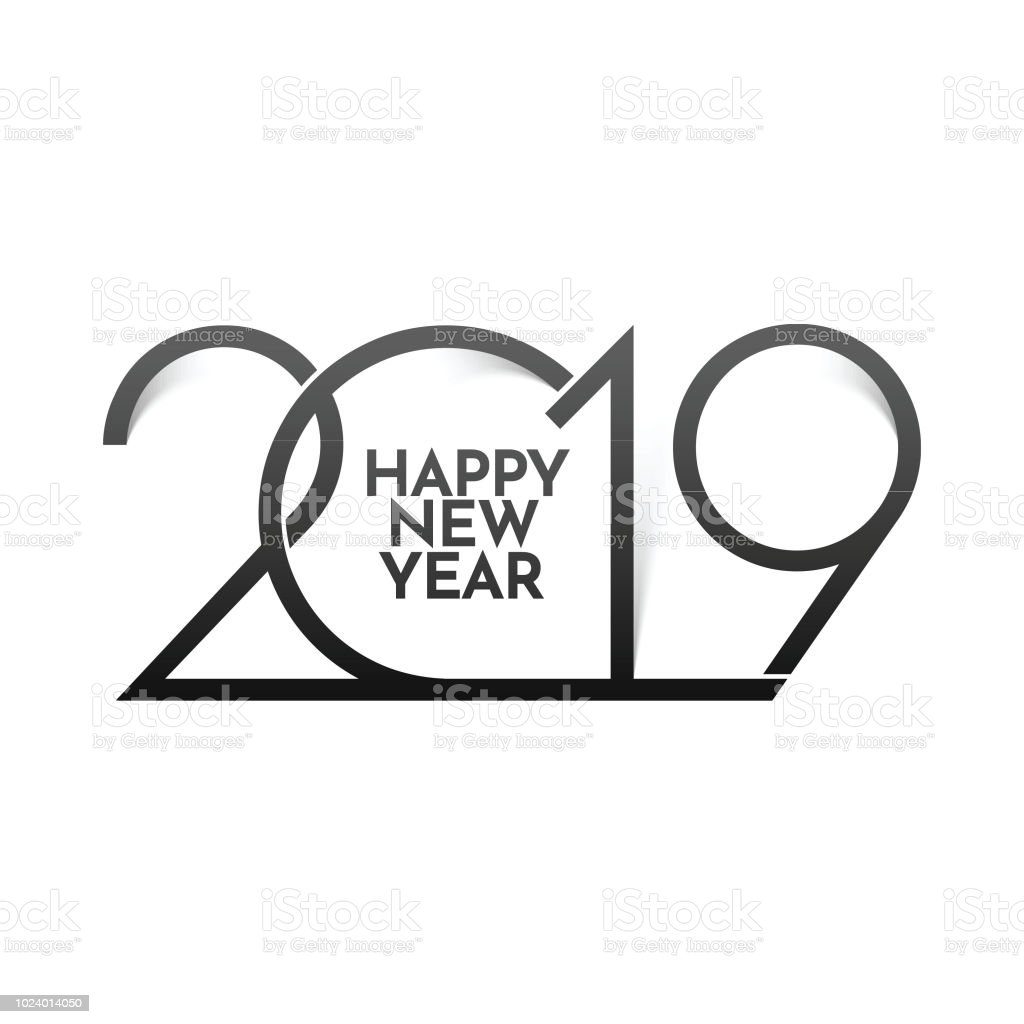stylish text 2019 on white background for happy new year greeting card design royalty