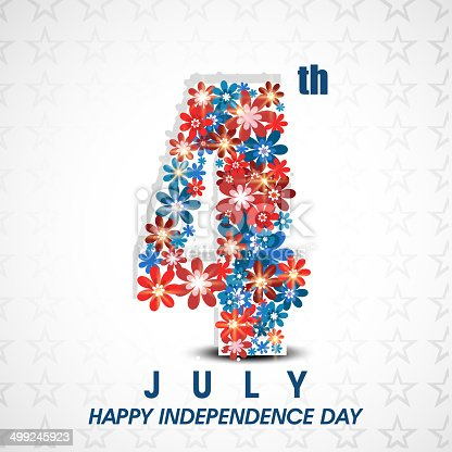 American Independence Day celebration concept with stylish text 4th of July decorated with flowers on star decorated grey backgroond