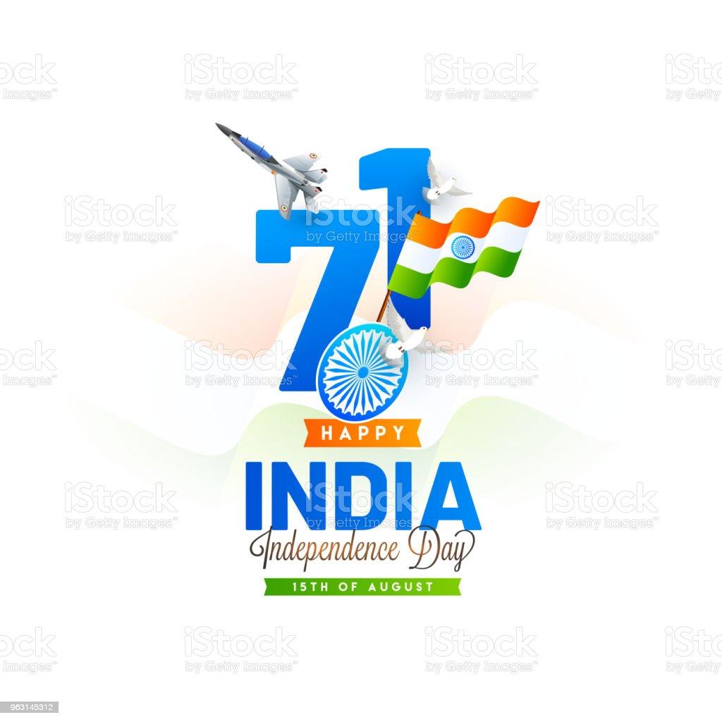 Elegant text 71 viftande flagga, fighter air craft, flygande duvor och snygg text Indien självständighetsdagen. - Royaltyfri Chakra vektorgrafik