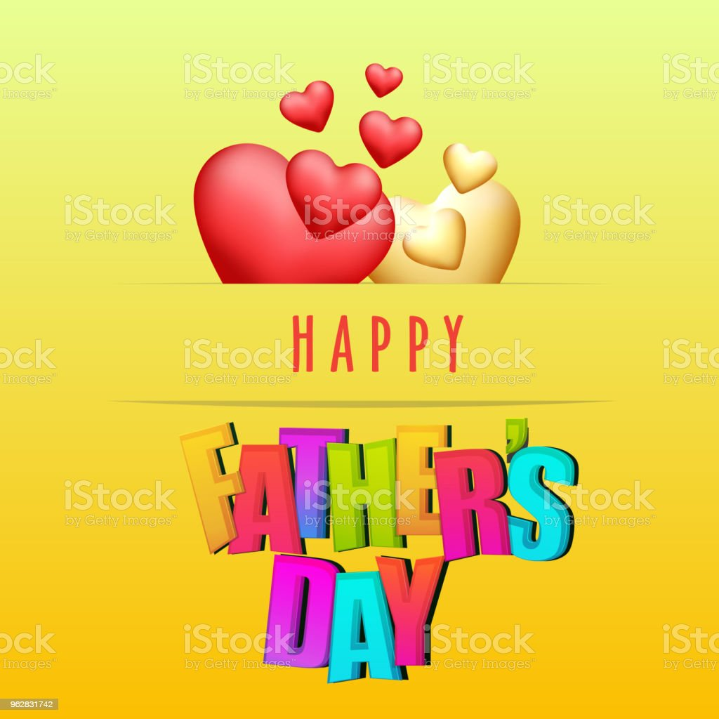 Stylish text Happy Father's Day on yellow background with golden and red hearts. - arte vettoriale royalty-free di Accudire