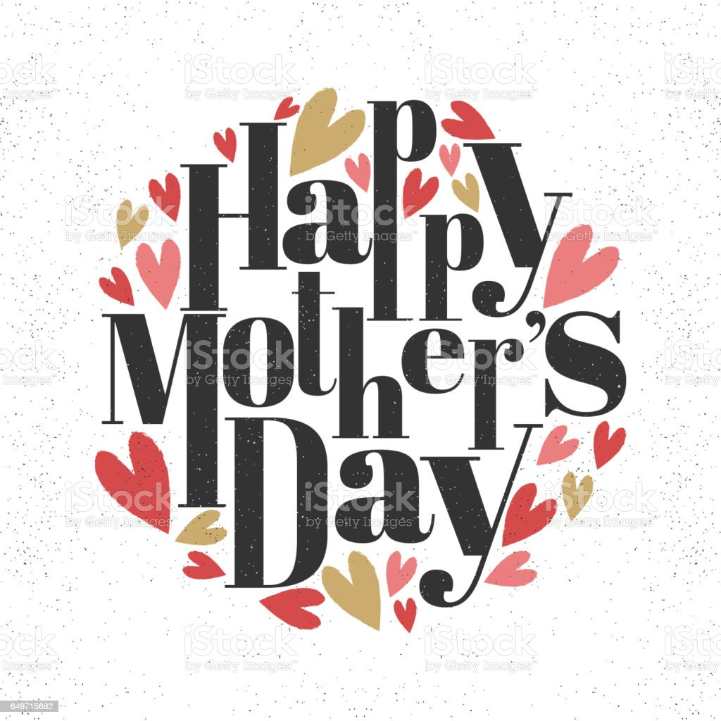 Stylish text Happy Mother's Day. vector art illustration