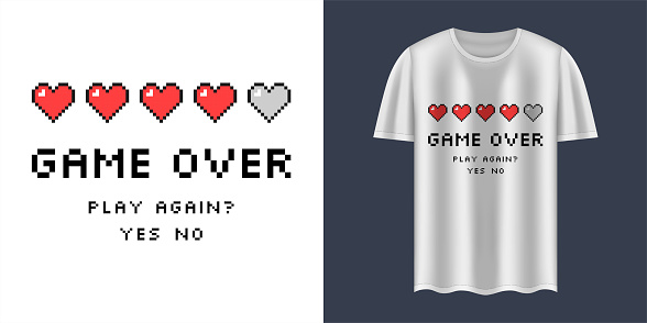 """Stylish t-shirt and apparel trendy design with """"Game Over"""" text. Typography, print, vector illustration. Textiles, print, t-shirts, web. Gaming clothing. Pixel art."""