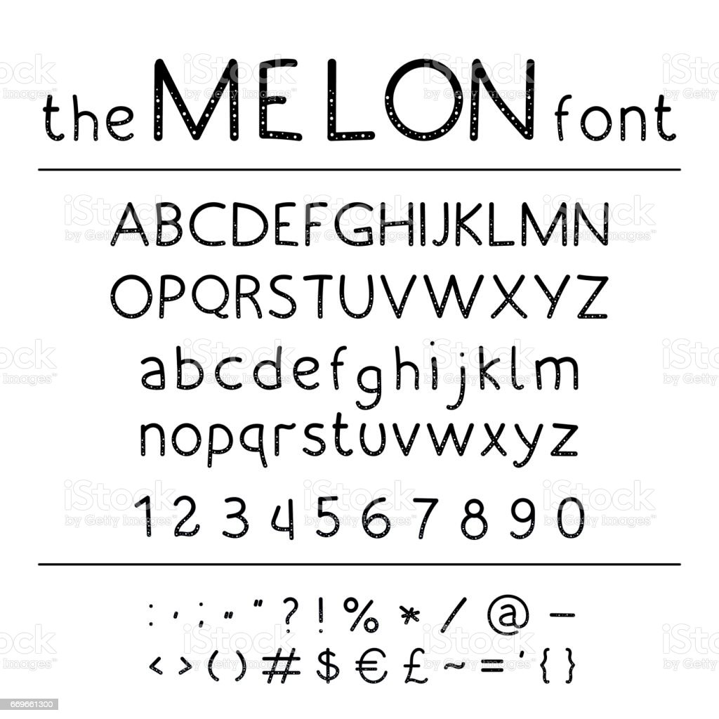 Stylish Vector Abc Retro Cute Hand Drawing Font Melon Unique Alphabet With  Letters In Numbers And Symbols Stock Illustration - Download Image Now